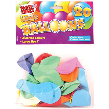 "PARTY CRAZE - 9"" LARGE BALLOONS - 20 PACK"