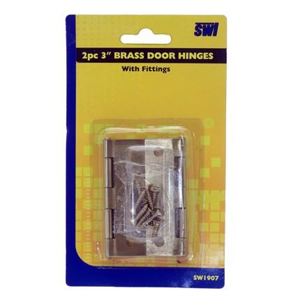 """SWL - 3"""" BRASS DOOR HINGES - 2 PACK"""