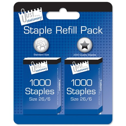 JUST STATIONERY - STAPLE REFILL PACK - 2 PACK