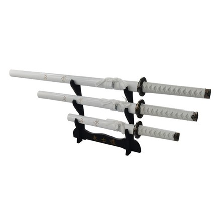 3PC STRAIGHT SWORD SET W/STAND IN BLACK