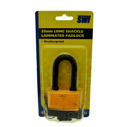 SWL - LONG SHACKLE LAMINATED PADLOCK - 50MM