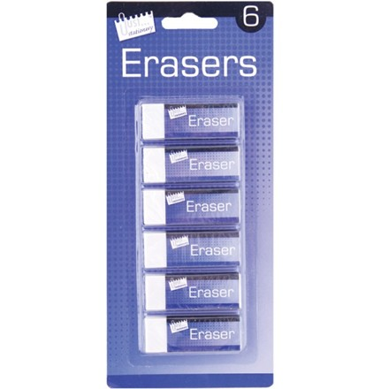 JUST STATIONERY - WHITE ERASERS - 6 PACK