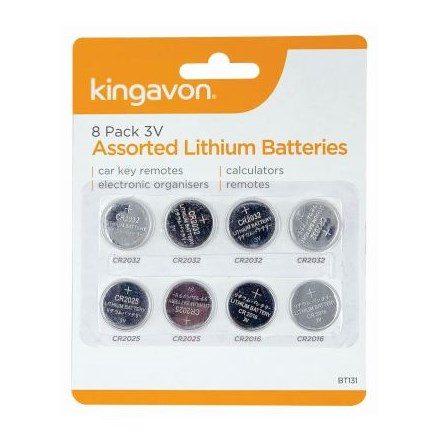 KINGAVON -  3V ASSORTED LITHIUM BATTERIES - 8 PACK