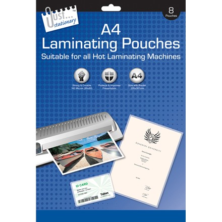JUST STATIONERY - A4 LAMINATING POUCHES - 8 PACK