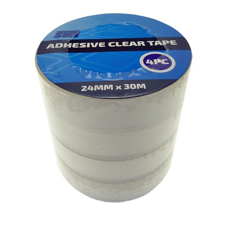 SWL - ADHESIVE CLEAR TAPE 24MM X 30M - 4 PACK