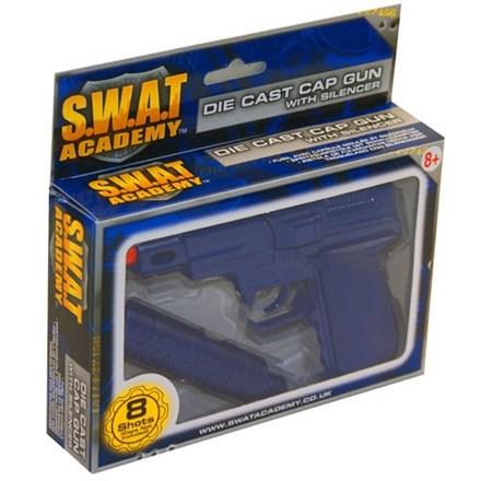 SWAT - 8 SHOT CAP PISTOL - METAL DIE CAST