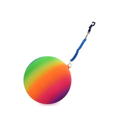 "10"" NEON RAINBOW BALL WITH KEYRING"