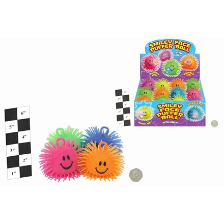 """4"""" SMILEY FACE PUFFER BALL WITH LIGHT"""