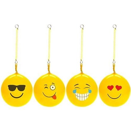 "10"" INFLATABLE EMOJI BALL WITH KEYRING"