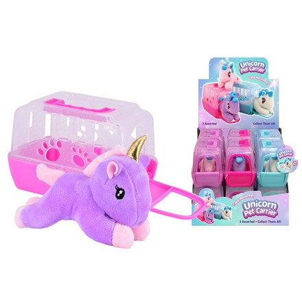 PLUSH UNICORN IN CARRY CASE - 3 ASSORTED