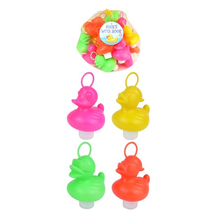 COLOURFUL DUCK WITH HOOK - 20 PACK