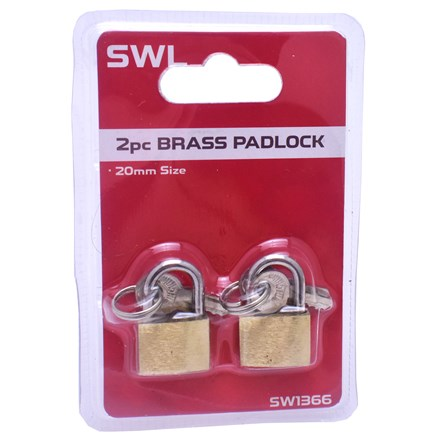 SWL - BRASS PADLOCK 20MM - 2 PACK