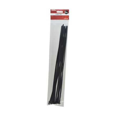 SWL - BLACK CABLE TIES 45CM - 12 PACK