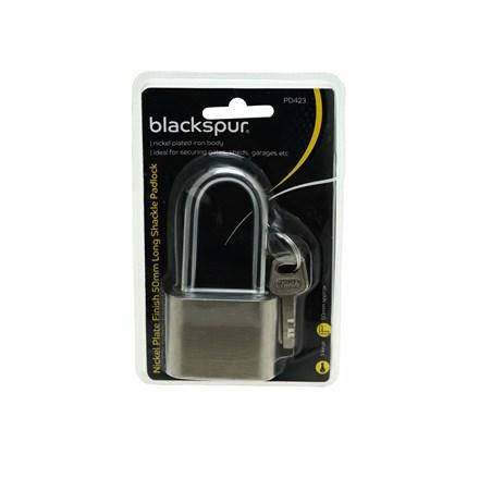 BLACKSPUR - NICKEL PLATE LONG SHACKLE PADLOCK 50MM