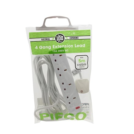 4 GANG 5M EXTENSION LEAD