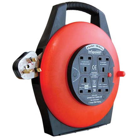 INFAPOWER - 4 SOCKET 10M CABLE REEL