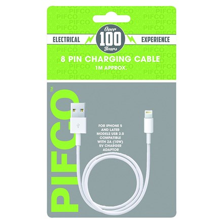 PIFCO 8 PIN IPHONE CHARGING CABLE 1M