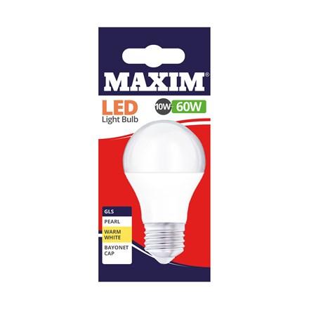 MAXIM LED BULB - GLS WARM WHITE-  ES 10W/60W