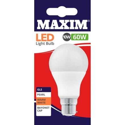 MAXIM LED BULB - GLS WARM WHITE - BC 9W/60W