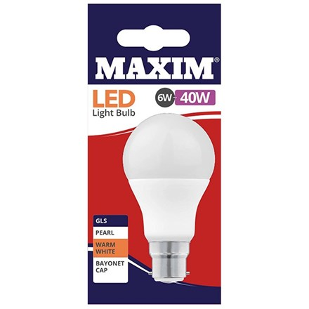 MAXIM LED BULB - GLS WARM WHITE - BC 6W/40W