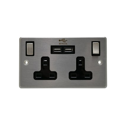 STATUS 2GANG SWITCHED PLUG W/ USB- STAINLESS STEEL