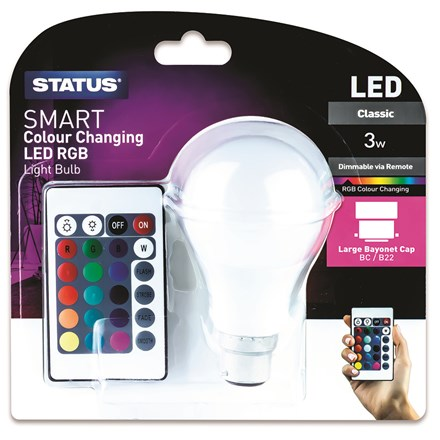STATUS - COLOUR CHANGING LIGHT BULB W/ REMOTE -B22