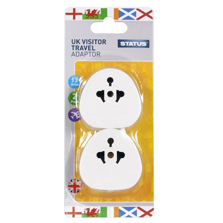 STATUS - UK VISITOR ADAPTOR BLISTER - 2 PACK