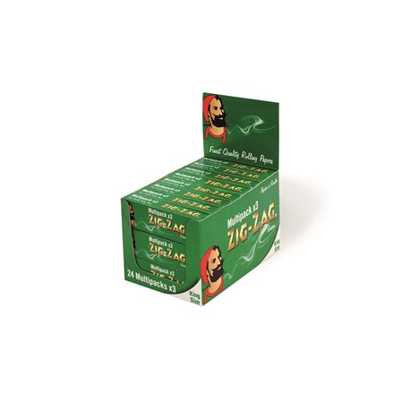 ZIG ZAG KING SIZE GREEN MULTIPACK - 24 X 3 PACK