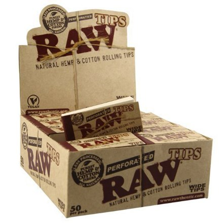 RAW PERFORATED WIDE PAPER TIPS - 50 PACK