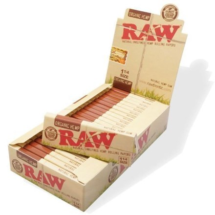 RAW ORGANIC 1-1/4 ROLLING PAPERS - 24 PACK