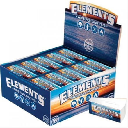 ELEMENTS WIDE ROLLING PAPER TIPS - 50 PACK