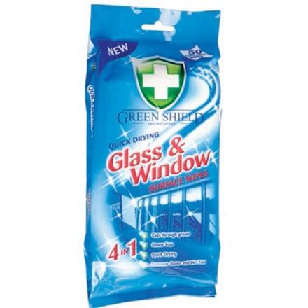 GREEN SHIELD -  GLASS & WINDOW WIPES - 70 WIPES
