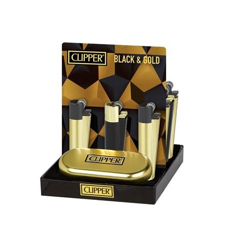 CLIPPER METAL FLINT BLACK AND GOLD - 12 PACK