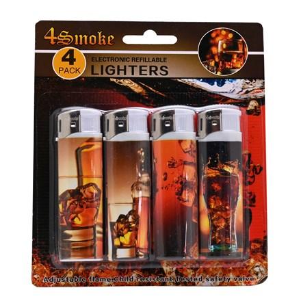 4SMOKE LIGHTERS - WHISKEY - 4 PACK