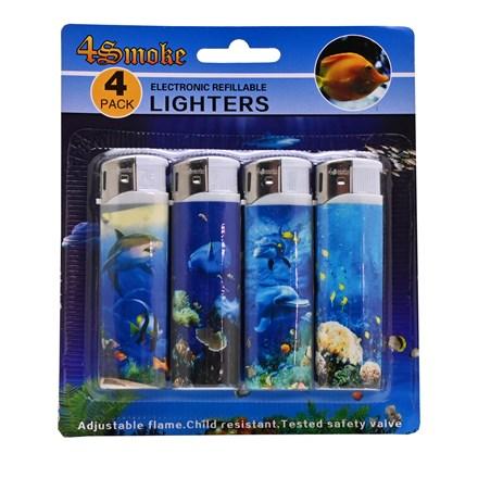 4SMOKE LIGHTERS -  FISH - 4 PACK