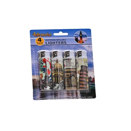 4SMOKE LIGHTERS - LANDMARK - 4 PACK