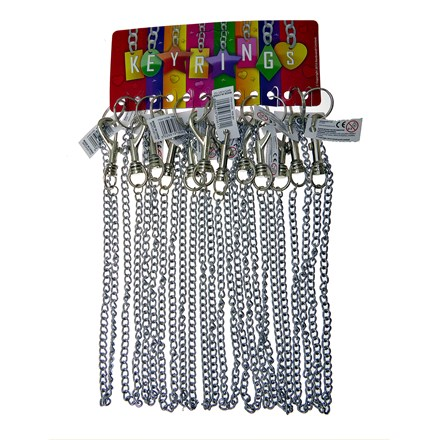 HIPSTER KEYRING WITH CHAIN - 12 PACK
