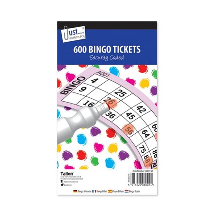 JUST STATIONERY - BINGO TICKETS - 600 PACK