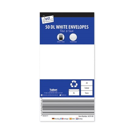 JUST STATIONERY - DL ENVELOPES - 50 PACK