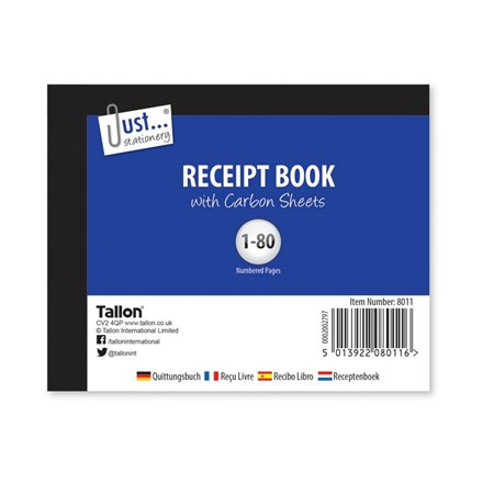 JUST STATIONERY - RECEIPT BOOK - 80 SHEETS