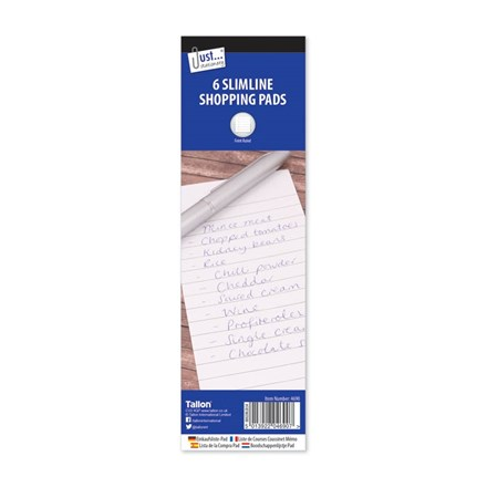JUST STATIONERY - SLIMLINE SHOPPING PADS - 6 PACK
