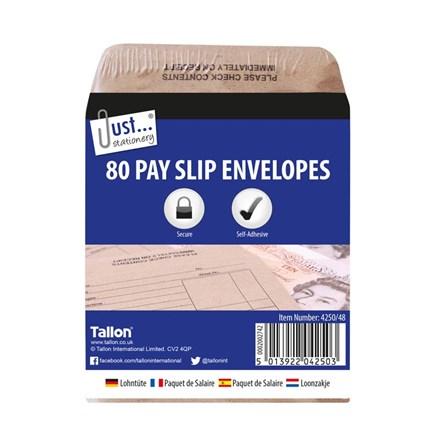 JUST STATIONERY - PAY SLIP ENVELOPES - 80 PACK