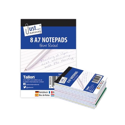 JUST STATIONERY - A7 NOTEBOOKS - 8 PACK