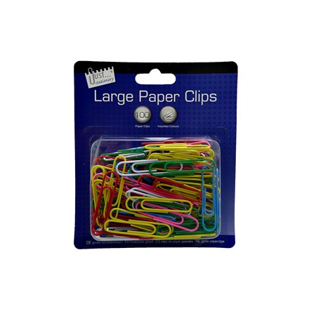 JUST STATIONERY - LARGE PAPER CLIPS - 100 PACK
