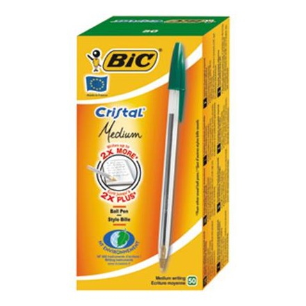 BIC CRISTAL - GREEN BALL POINT PENS - 50 PACK