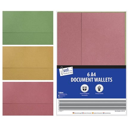 JUST STATIONERY - A4 CARD DOCUMENT WALLET -6 PACK