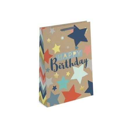 GIFT BAG - HAPPY BIRTHDAY KRAFT EFFECT - LARGE
