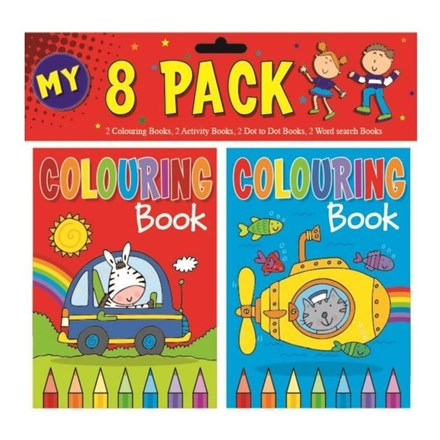 SQUIGGLE - MINI COLOURING BOOK - 4 ASST - 8 PACK