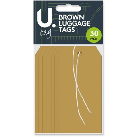 PAPER LUGGAGE TAGS - BROWN - 30 PACK