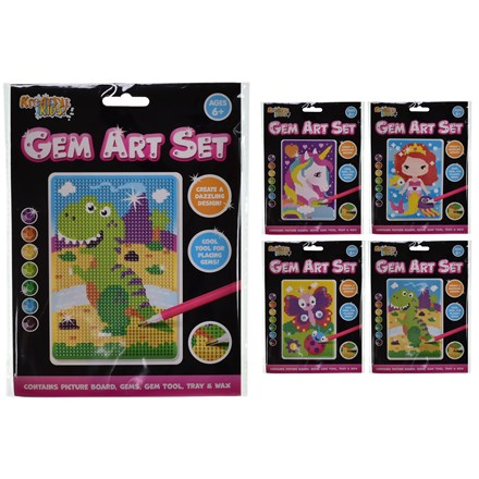 KREATIVE KIDS - GEM ART CRAFT SET - 4ASST